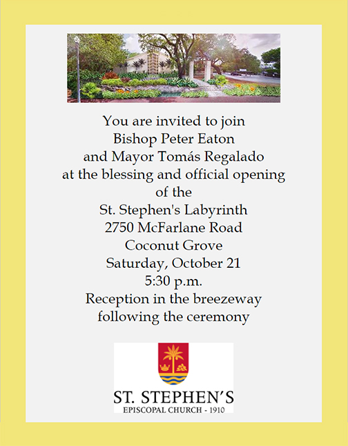 Opening and blessing of the St. Stephen's Labyrinth by Bishop Peter Eaton @ St. Stephen's Episcopal Church